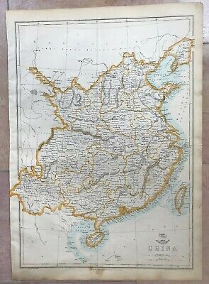 CHINA TAIWAN HAINAN 1863 by WELLER LARGE ANTIQUE ENGRAVED MAP