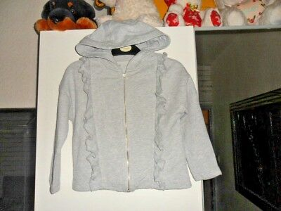 V by Very age 4-5 years silver grey hoodie with frill front and sparkle