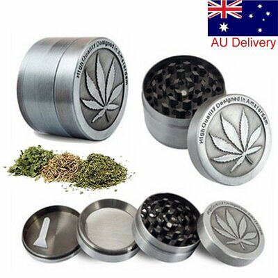 4 Piece Metal Tobacco Herb Spice Grinder Herbal Zinc Alloy Crusher Muller AU