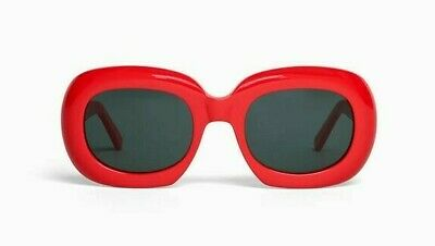 00591eac2048 CELINE CL40030 RED Frame Gray Lens Square Sunglasses %100 Authentic ...