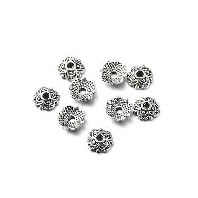 Flower Bead Caps Antique Silver Metal Alloy 7mm  110+ Pcs Findings Jewellery