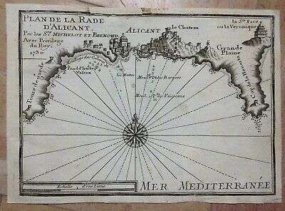 ALICANTE SPAIN 1730 by MICHELOT & BREMOND ANTIQUE ENGRAVED SEA CHART