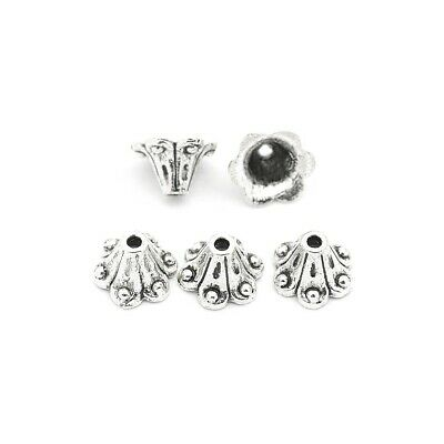 Flower Bead Caps Antique Silver Metal Alloy 6x8.5mm  50+ Pcs Findings Jewellery