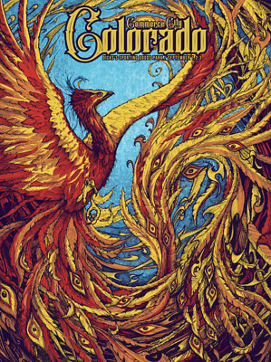 "/""Phamous Mockingbird/"" Phish Dicks Commerce City Colorado Screen Print Poster"