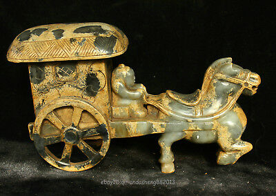 28cm China Natural old jade Sculpture handcarved Carriage Horse statue QSST
