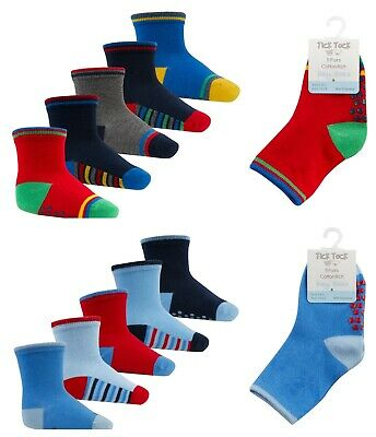Baby Boys Non Slip Socks Three Pack Two Designs Ideal Soft Play Socks