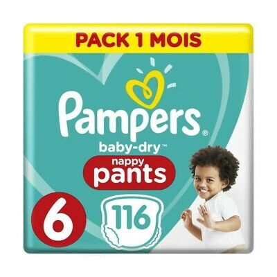 PAMPERS Baby-Dry Pants Taille 6, 15kg+, 116 Couches - Pack 1 Mois