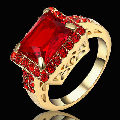 NATURAL  RED RUBY/&WHITE CZ  925SILVER  RING SZ 5.5//6.5//7.5