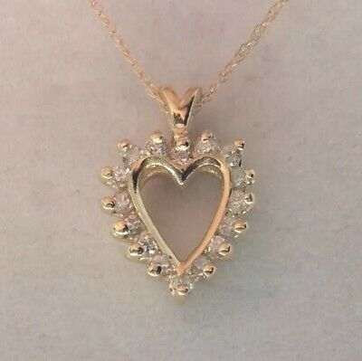 "14 K Yellow Gold Diamond Necklace .25 Carats 22"" 2.4g"