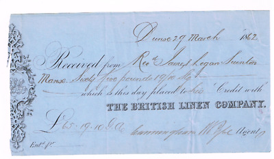 The British Linen Company, 1862 credit receipt issued in Dunse.