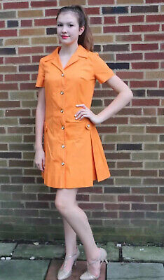1f90ea029014c Vintage 60's Mod Go Go Scooter Orange Mini Dress by California Girl Size ...