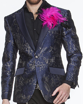 dcfa01d3 ANGELINO MEN'S FASHION Blazer Sport Coat - Flower 17 Black - $140.00 ...