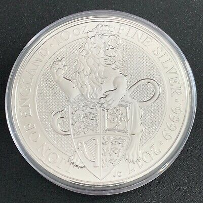 2017 Great Britain 10oz .9999 Silver Queen's Beast Lion Of England in Capsule