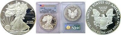 2008 W $1 American Silver Eagle Proof PCGS First Strike PR69DCAM Spotty