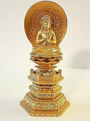 """Golden Figurine of Chinese Bodhisattva Guanyin on a Lotus, 7.5"""""""