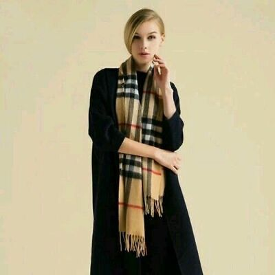 100% Cashmere Brand New Authentic Burberry Scarf Big Check Camel Black White