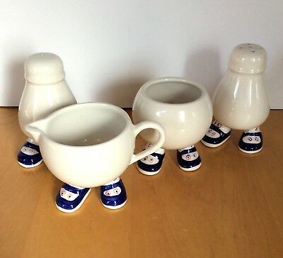 Lot of 4 Carlton Walking Ware Matching Salt Pepper Creamer & no lid Sugar Bowl