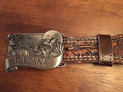 Hand Tooled Belt  36 Featuring Acorns with Bergamot 1984 Indiana Buckle Numbered