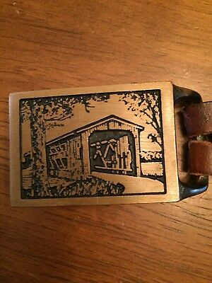 Hand Tooled Belt with Tech Ether Guild '75 Covered Bridge Buckle Chambers Belt