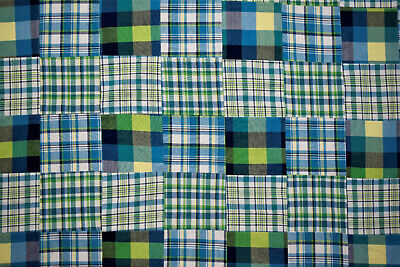 """Patchwork Quilting Yarn Dyed Cotton Plaid Blue Hand Serged Fabric 56""""W Apparel"""