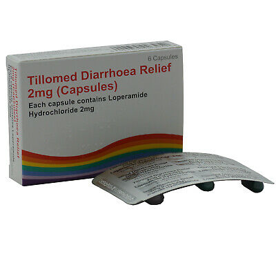 1x6 Diarrhoea Relief 2mg Capsules Loperamide Hydrochloride Tablets Tillomed