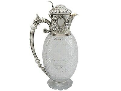 Antique Victorian Cut Glass and Sterling Silver Mounted Claret Jug 1887