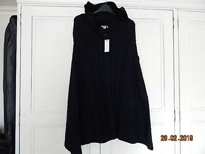 New With Tag Tommy & Kate Ladies Lovely Black Hooded Knitted Cape One Size