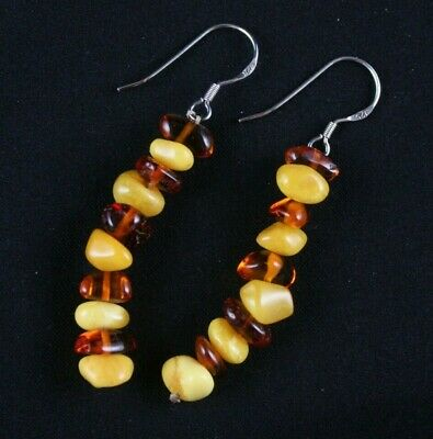 Stacked Amber Wire Dangle Earrings Sterling Silver .925