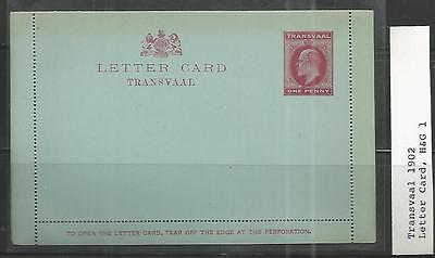 Transvaal Letter Card King Edward VII One Penny red 1902
