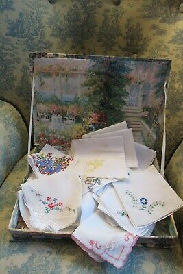 Pretty Box of  34 Vintage Embroidered Collectable-1950 Hankies
