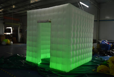 Inflatable Cube Photo Booth with LED Lights, Portable Photobooth One Door