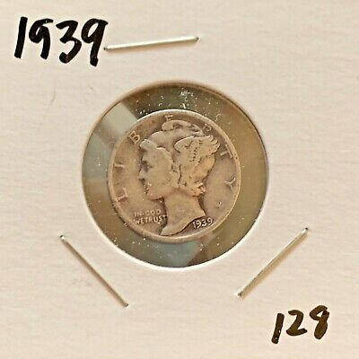 1939 Mercury Dime 90% Silver About Uncirculated AU Very Clean #128