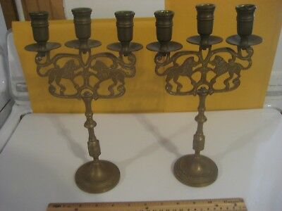 2 Vintage Lions Of Judea Brass 3 Arm Candle Holder Candlestick Sabbath Holiday