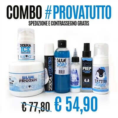 Blue Ice Combo Prodotti Tattoo Stencil Ink Gel Aftercare Piercing Mousse