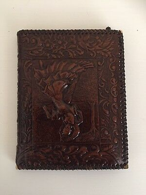 Vintage Tooled Leather? Notepad Address Book Upside Down Couple