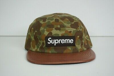 260b984c SUPREME DUCK CAMO BOX LOGO 5 PANEL CAMP CAP hat print olive brown green