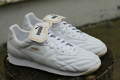 PUMA KING AVANTI Leather Trainers White Gold Black 365482 02