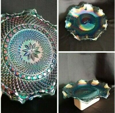 "Indiana Carnival Glass Iridescent Blue Starburst Diamond Point 10"" Ruffled Plate"