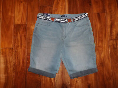 uhNWT Womens BANDOLINO Riley Aquamarine Blue Denim Belted Bermuda Roll Shorts 16