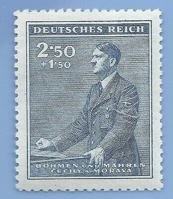 Nazi Germany Third Reich Nazi B&M Adolf Hitler 2.50+1.50 stamp MNH WW2 ERA #8