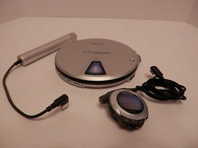 Sony D-EJ01 CD Walkman w/Remote Control & External Battery Adapter-TESTED-VGC