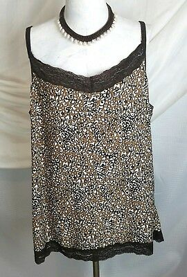242fe875ecd Avenue womens size 26 28 Cami Tank Top 3X 4X brown lace cute stretchy shirt
