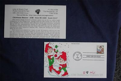 1996 Christmas Skaters 32c Stamp FDC Pugh HandPainted Sc#3117  96-1020