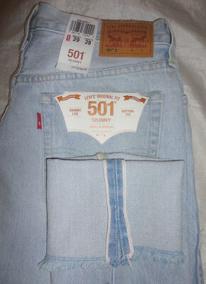 5ee59bff NWT $168 LEVI'S Women 501 Skinny Selvedge Distressed Jeans 295020017 ...