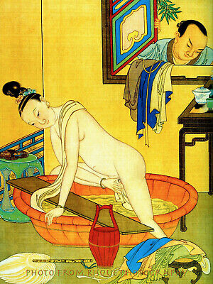 "Chinese Nude Woman at Bath 8.5x11"" Photo Print Classic Naked Female Art Qui Ying"