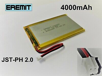 Lithium Polymer LiPo Batterie Akku 4000mAh 3.7 V 1S PCB Tablet JST PH 2.0 mm 3