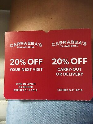 Carrabba's Italian Grill 20% off two coupons expire 5/11/19