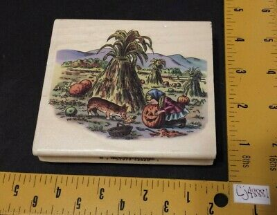 PSX Tasha Tudor Corgi Cottage Rubber Stamp K7210 Girl & Dog in Pumpkin Patch