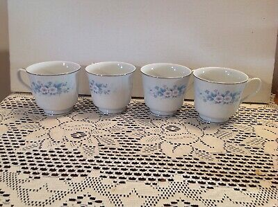 4 Carlton China Footed Cups Carla Pattern 506 Japan Floral Platinum Trim