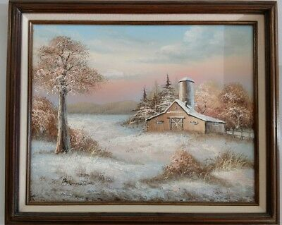 Beautiful Original Oil Painting Of Farm Signed By Artist Bennett And Framed